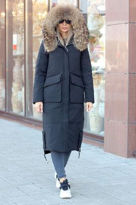 Теплая куртка парка с мехом енота