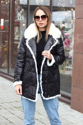 Серый женский зимний пуховик