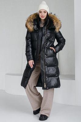 Шерстяное пальто с черным песцом 2018-2019