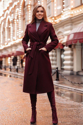 Осеннее пальто длинное с поясом бордовое