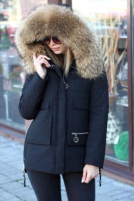 Черная недорогая куртка-парка на зиму